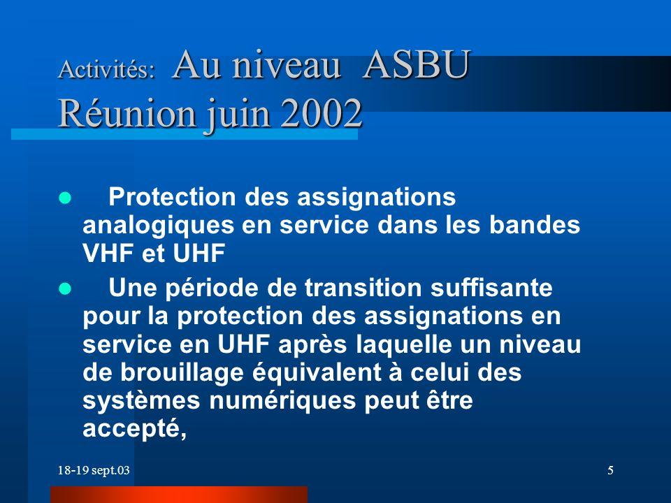 18-19 sept.035 Activités: Au niveau ASBU Réunion juin 2002 Protection des assignations analogiques en service dans les bandes VHF et UHF Une période de transition suffisante pour la protection des assignations en service en UHF après laquelle un niveau de brouillage équivalent à celui des systèmes numériques peut être accepté,