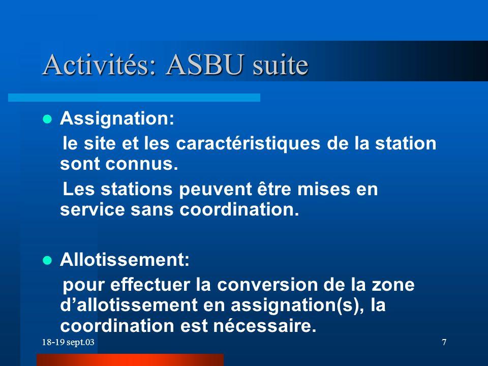 18-19 sept.037 Activités: ASBU suite Assignation: le site et les caractéristiques de la station sont connus.