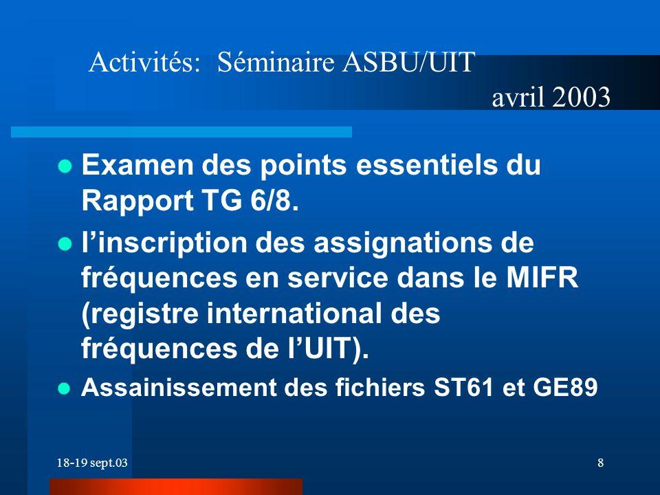 18-19 sept.038 Examen des points essentiels du Rapport TG 6/8.