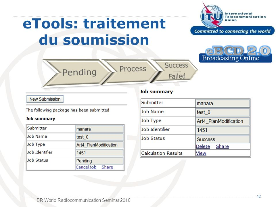 BR World Radiocommunication Seminar 2010 12 eTools: traitement du soumission
