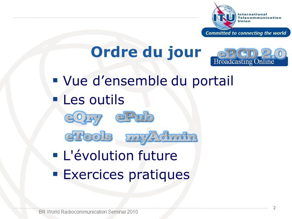 BR World Radiocommunication Seminar 2010 Ordre du jour Vue densemble du portail Les outils L évolution future Exercices pratiques 2
