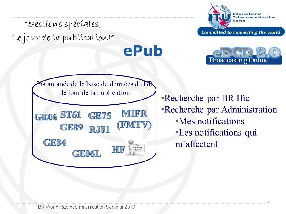 BR World Radiocommunication Seminar 2010 eTools 10 Mes calculs sur-demande Version Read-Only de la base de données du BR (copie hebdomadaire) GE06A Examen de Coordination GE06D Modification du Plan GE06D Compatibilité Art5 (GE06D) Examen de conformité ITU-R P1812 Point au région ITU-R P1812 Point au point