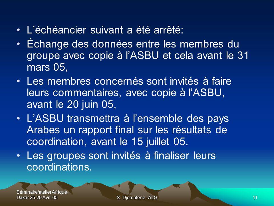 Séminaire/atelier Afrique- Dakar 25-29 Avril 05S. Djematene - ALG11 Léchéancier suivant a été arrêté: Échange des données entre les membres du groupe