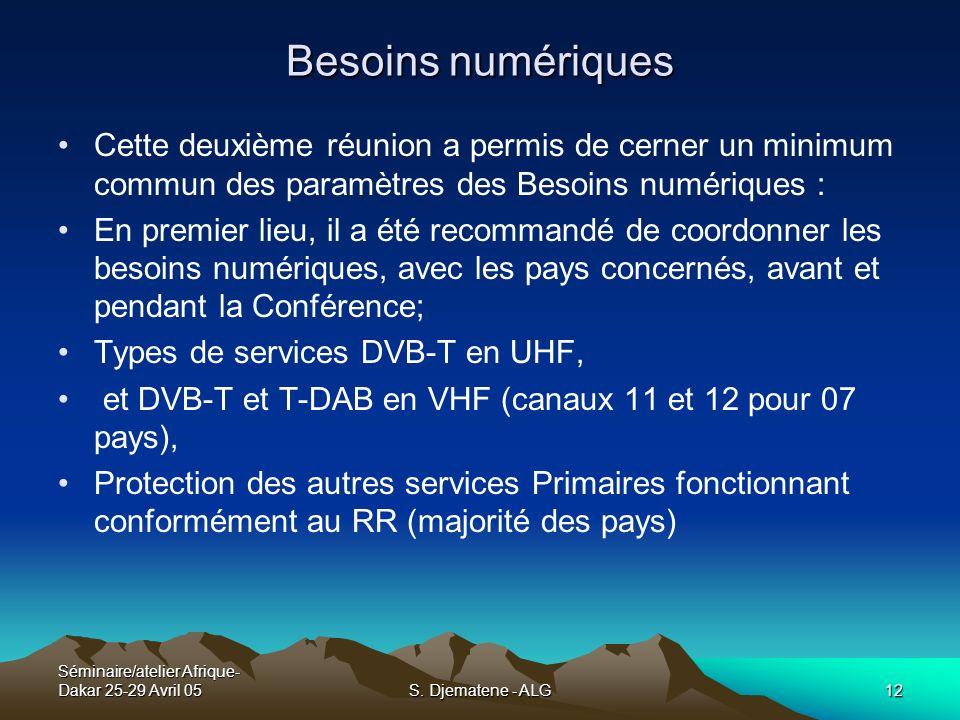 Séminaire/atelier Afrique- Dakar 25-29 Avril 05S. Djematene - ALG12 Besoins numériques Cette deuxième réunion a permis de cerner un minimum commun des