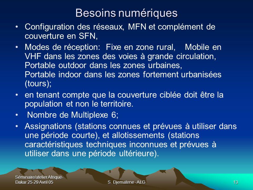 Séminaire/atelier Afrique- Dakar 25-29 Avril 05S. Djematene - ALG13 Besoins numériques Configuration des réseaux, MFN et complément de couverture en S