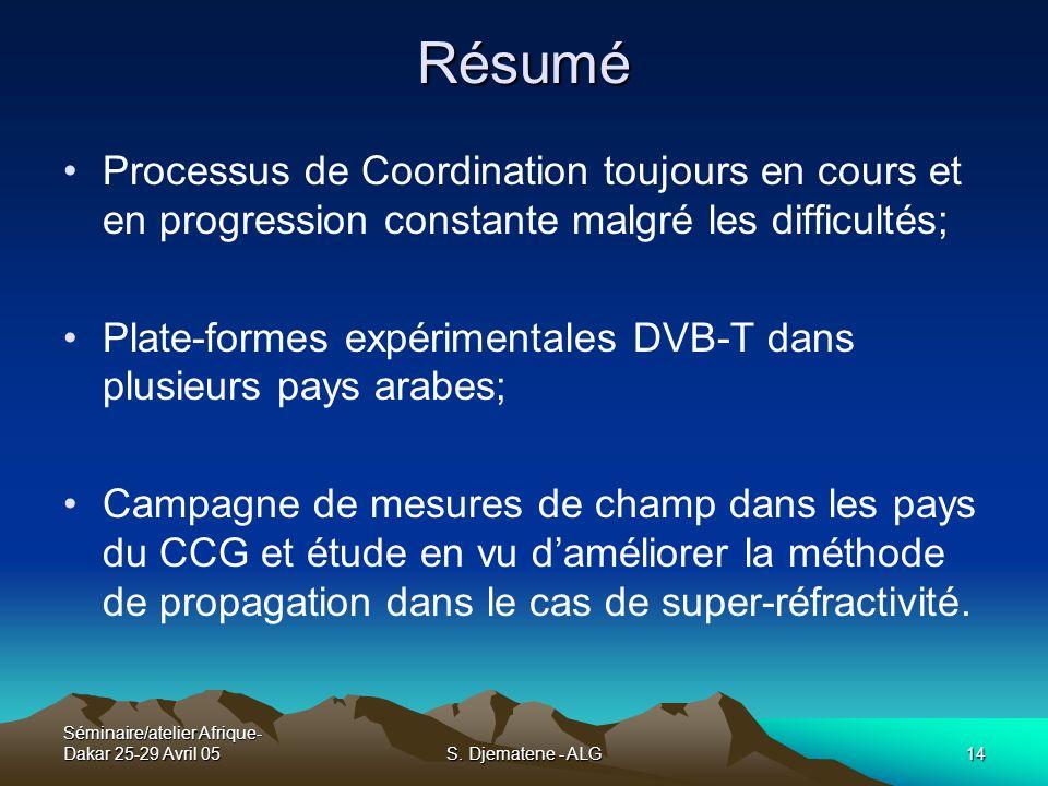Séminaire/atelier Afrique- Dakar 25-29 Avril 05S. Djematene - ALG14 Processus de Coordination toujours en cours et en progression constante malgré les