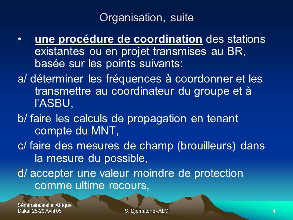 Séminaire/atelier Afrique- Dakar 25-29 Avril 05S. Djematene - ALG4 Organisation, suite une procédure de coordination des stations existantes ou en pro