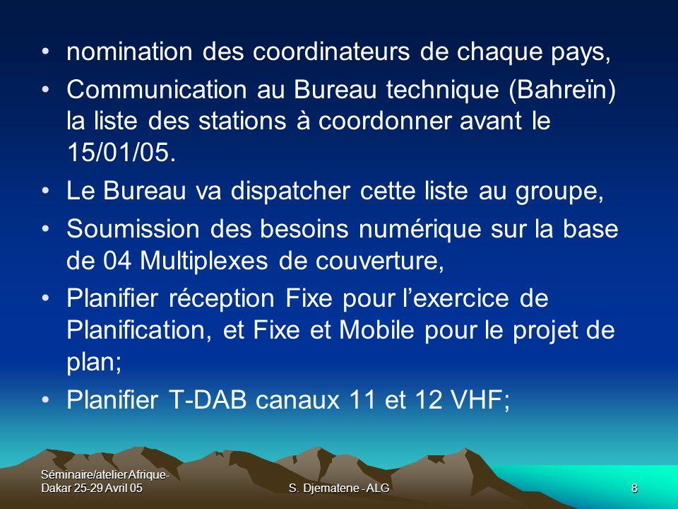 Séminaire/atelier Afrique- Dakar 25-29 Avril 05S. Djematene - ALG8 nomination des coordinateurs de chaque pays, Communication au Bureau technique (Bah