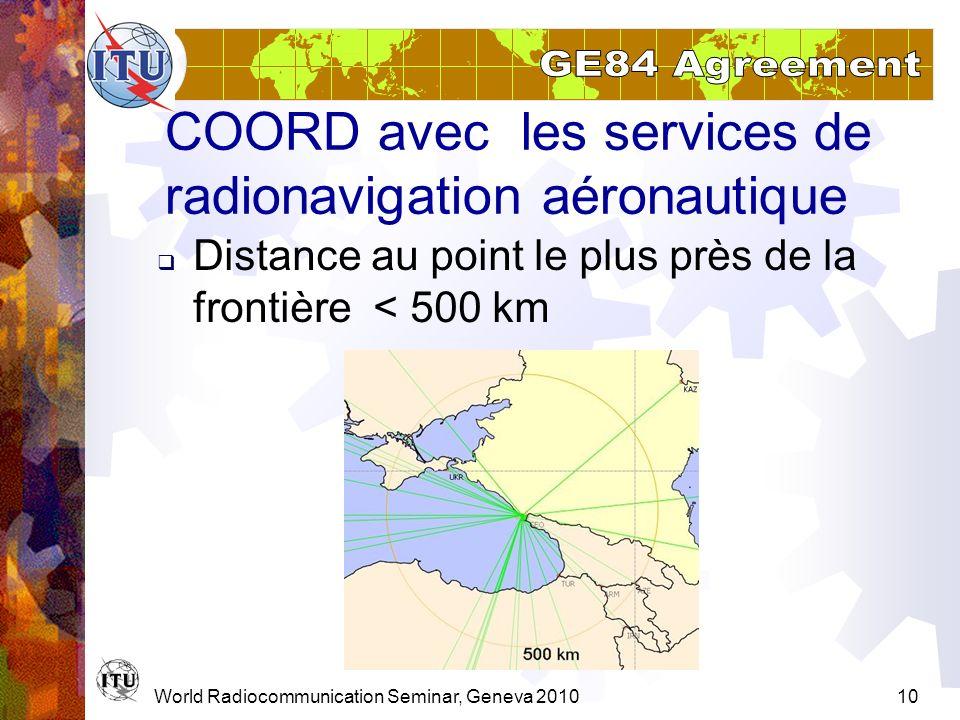 World Radiocommunication Seminar, Geneva 201010 COORD avec les services de radionavigation aéronautique Distance au point le plus près de la frontière