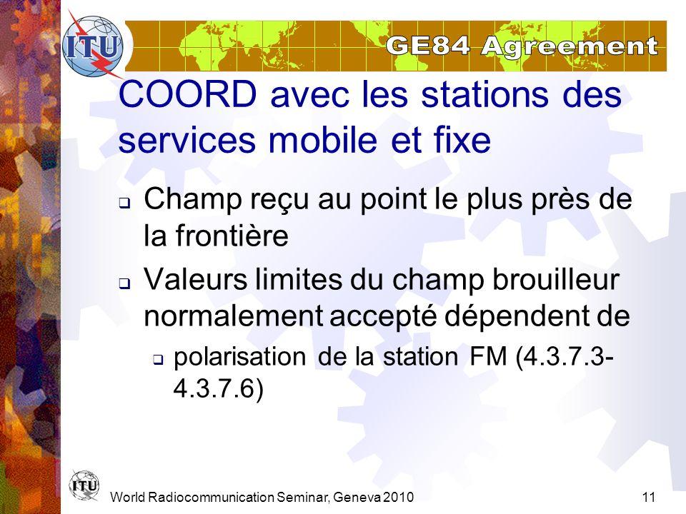 World Radiocommunication Seminar, Geneva 201011 COORD avec les stations des services mobile et fixe Champ reçu au point le plus près de la frontière V