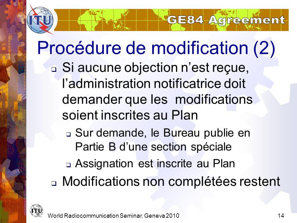 World Radiocommunication Seminar, Geneva 201014 Procédure de modification (2) Si aucune objection nest reçue, ladministration notificatrice doit deman