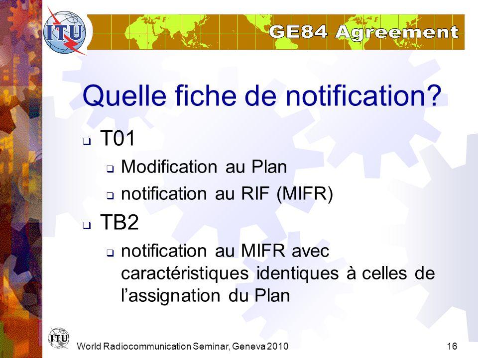 World Radiocommunication Seminar, Geneva 201016 Quelle fiche de notification? T01 Modification au Plan notification au RIF (MIFR) TB2 notification au