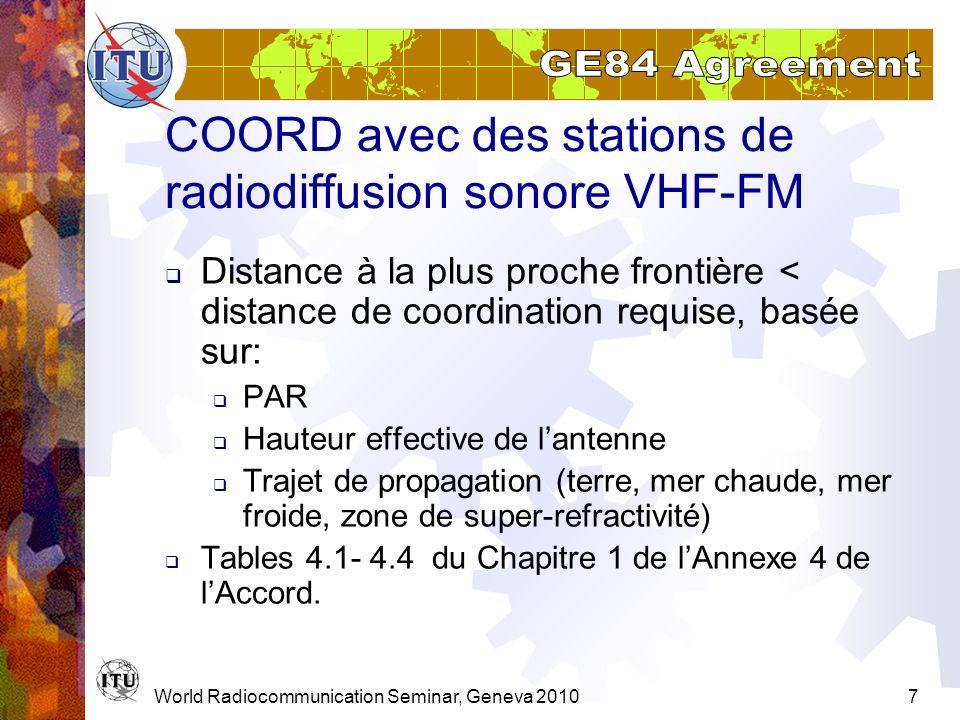 World Radiocommunication Seminar, Geneva 20107 COORD avec des stations de radiodiffusion sonore VHF-FM Distance à la plus proche frontière < distance