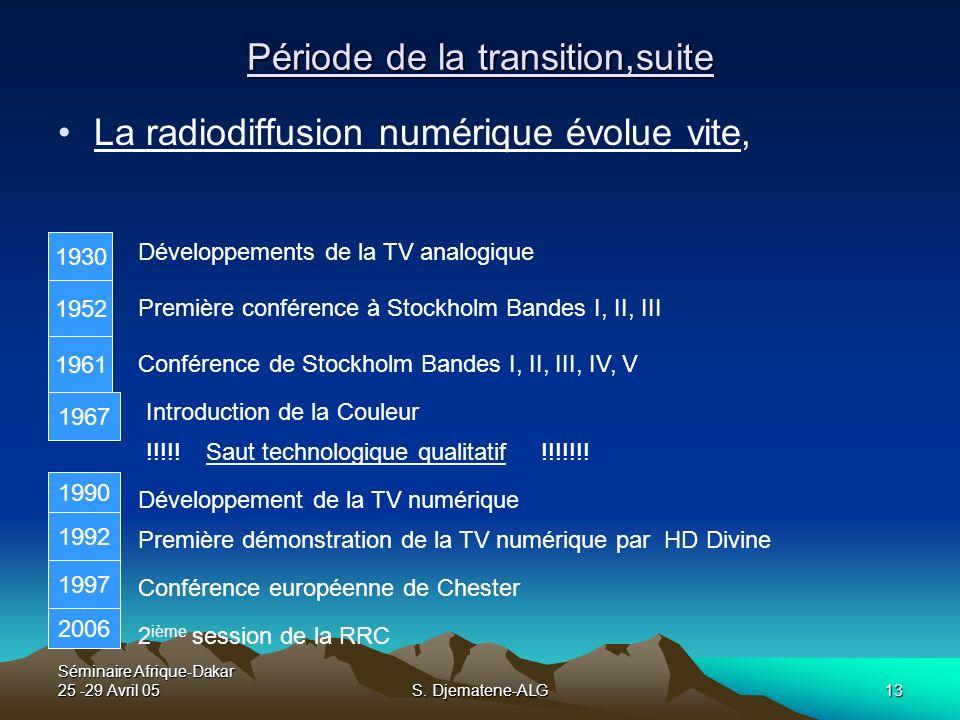 Séminaire Afrique-Dakar 25 -29 Avril 05S. Djematene-ALG13 Période de la transition,suite La radiodiffusion numérique évolue vite, 1930 1952 1961 1967