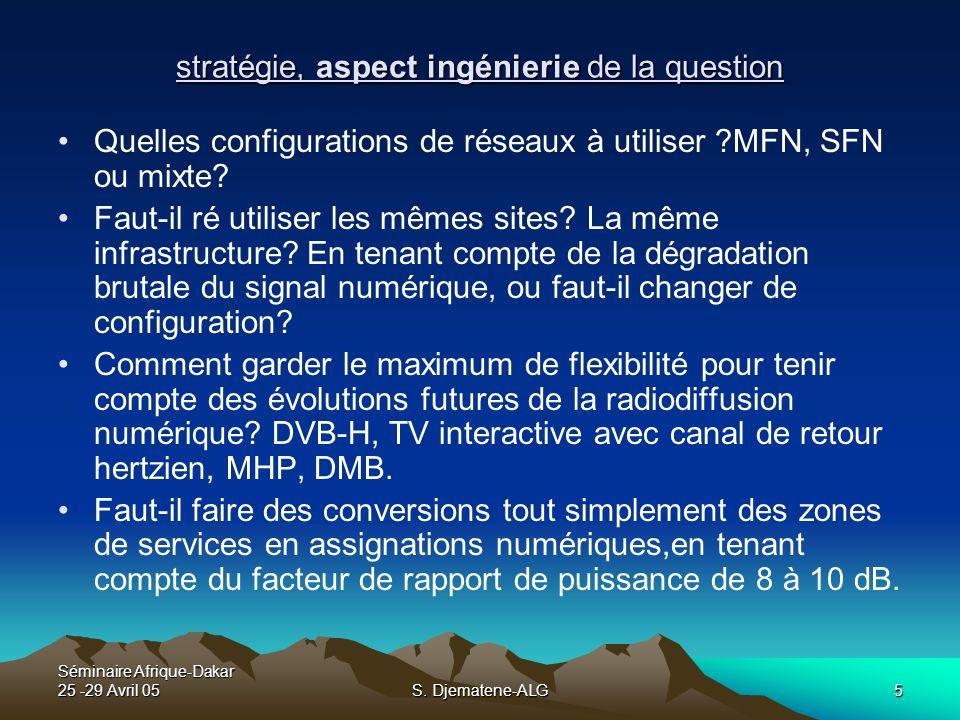 Séminaire Afrique-Dakar 25 -29 Avril 05S. Djematene-ALG5 stratégie, aspect ingénierie de la question Quelles configurations de réseaux à utiliser ?MFN