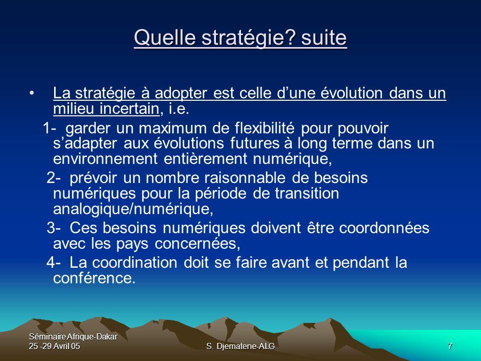Séminaire Afrique-Dakar 25 -29 Avril 05S. Djematene-ALG7 Quelle stratégie? suite La stratégie à adopter est celle dune évolution dans un milieu incert