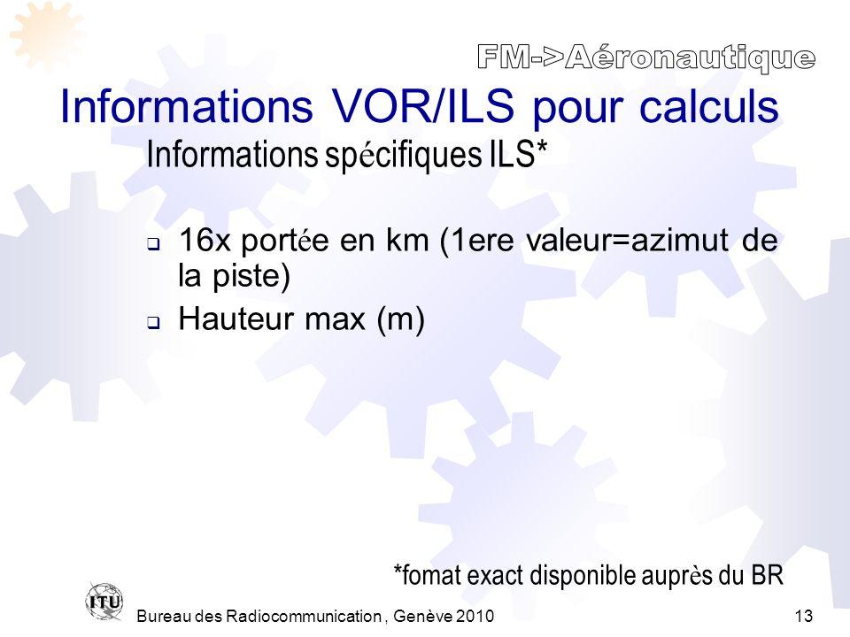 Bureau des Radiocommunication, Genève 201013 Informations VOR/ILS pour calculs 16x port é e en km (1ere valeur=azimut de la piste) Hauteur max (m) Informations sp é cifiques ILS* *fomat exact disponible aupr è s du BR