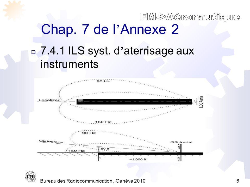 Bureau des Radiocommunication, Genève 20106 Chap. 7 de l Annexe 2 7.4.1 ILS syst.