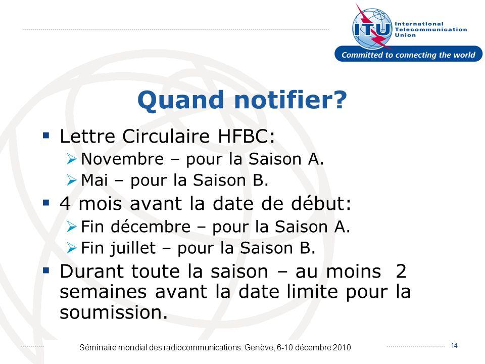 Séminaire mondial des radiocommunications. Genève, 6-10 décembre 2010 14 Quand notifier? Lettre Circulaire HFBC: Novembre – pour la Saison A. Mai – po