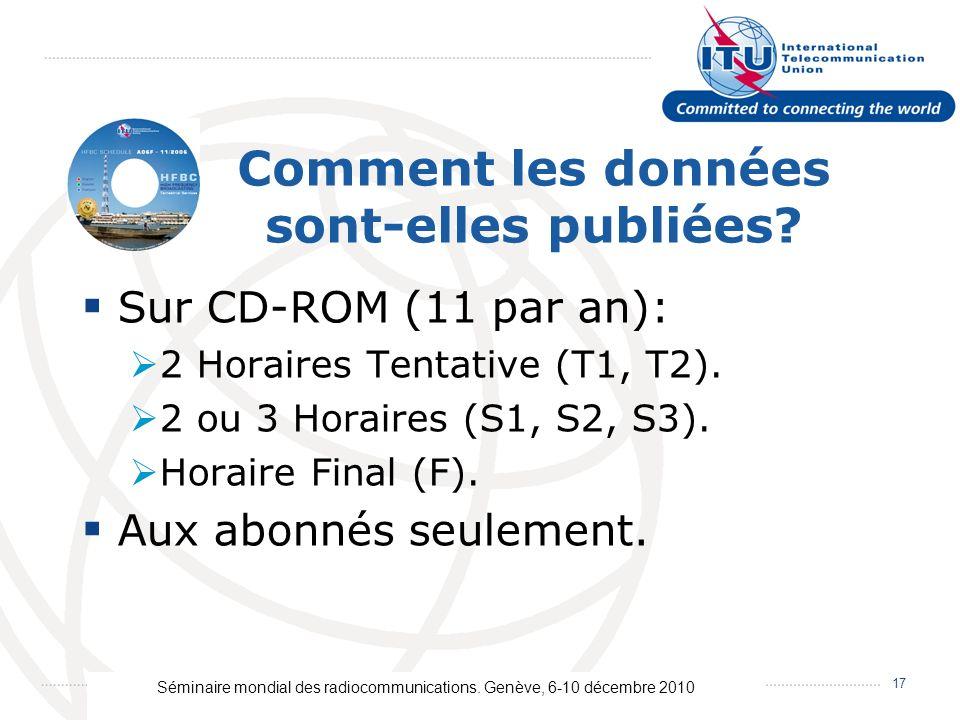 Séminaire mondial des radiocommunications. Genève, 6-10 décembre 2010 17 Comment les données sont-elles publiées? Sur CD-ROM (11 par an): 2 Horaires T