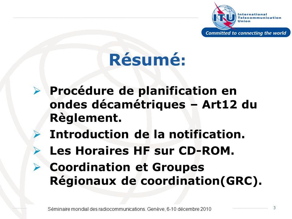 Séminaire mondial des radiocommunications. Genève, 6-10 décembre 2010 3 Procédure de planification en ondes décamétriques – Art12 du Règlement. Introd