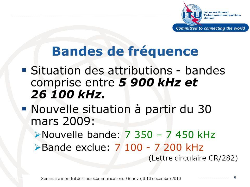 Séminaire mondial des radiocommunications. Genève, 6-10 décembre 2010 6 Bandes de fréquence Situation des attributions - bandes comprise entre 5 900 k