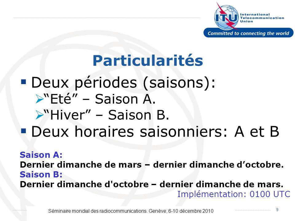 Séminaire mondial des radiocommunications. Genève, 6-10 décembre 2010 9 Particularités Deux périodes (saisons): Eté – Saison A. Hiver – Saison B. Deux