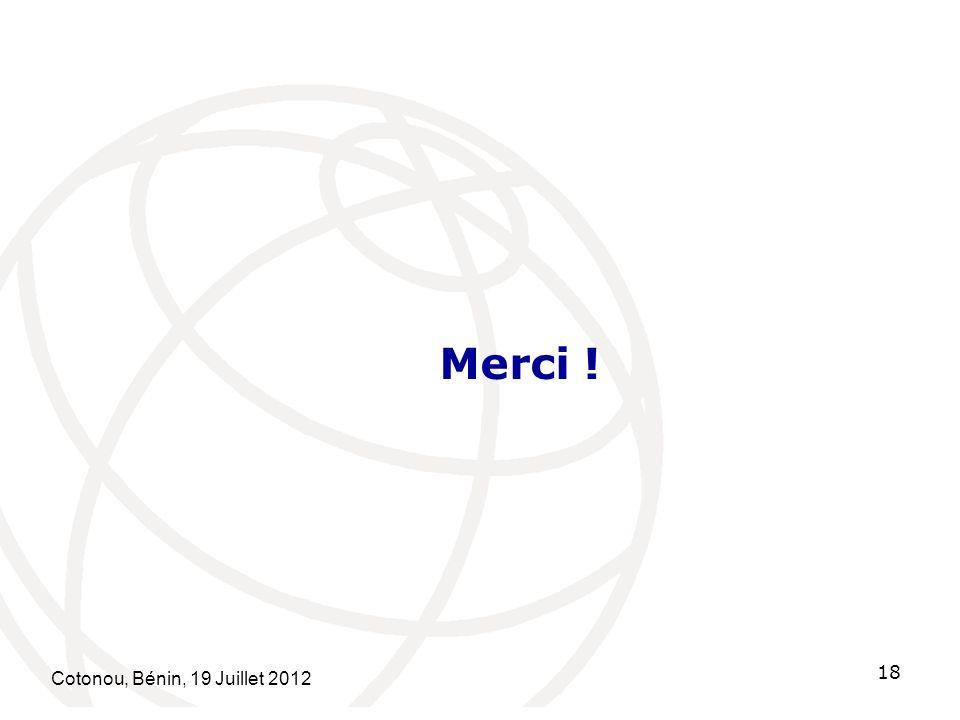 Cotonou, Bénin, 19 Juillet 2012 18 Merci !