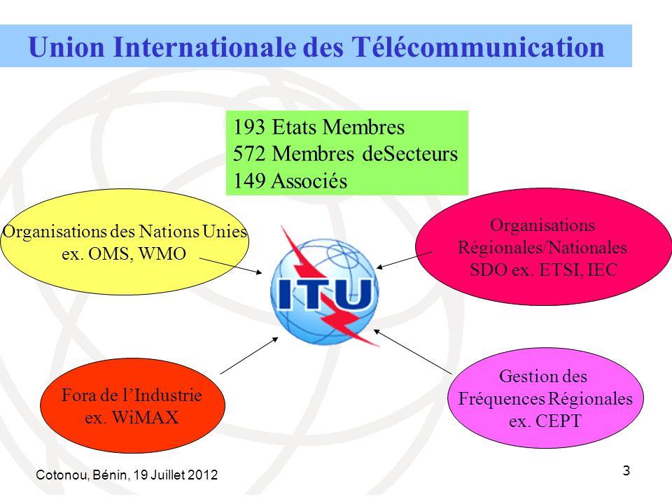 Cotonou, Bénin, 19 Juillet 2012 3 Organisations des Nations Unies ex.