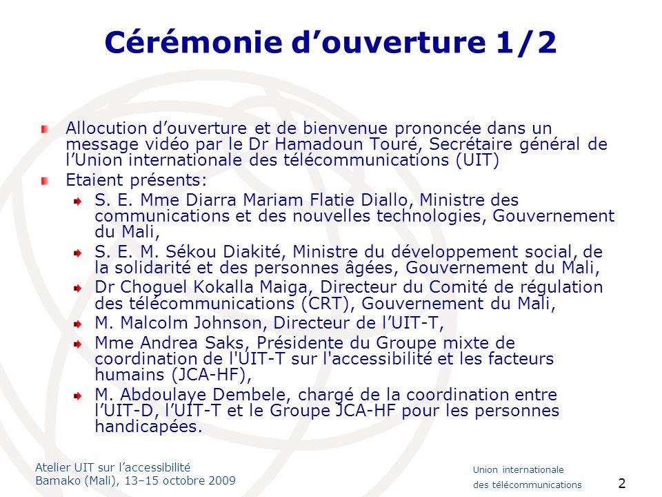 Atelier UIT sur laccessibilité Bamako (Mali), 13–15 octobre 2009 Union internationale des télécommunications 23 Session 7: Promouvoir des TIC accessibles – Données dexpérience et difficultés 2/2 Les principales parties prenantes sont les secteurs de lenseignement, du développement social et des TIC, les régulateurs et les associations de personnes handicapées.