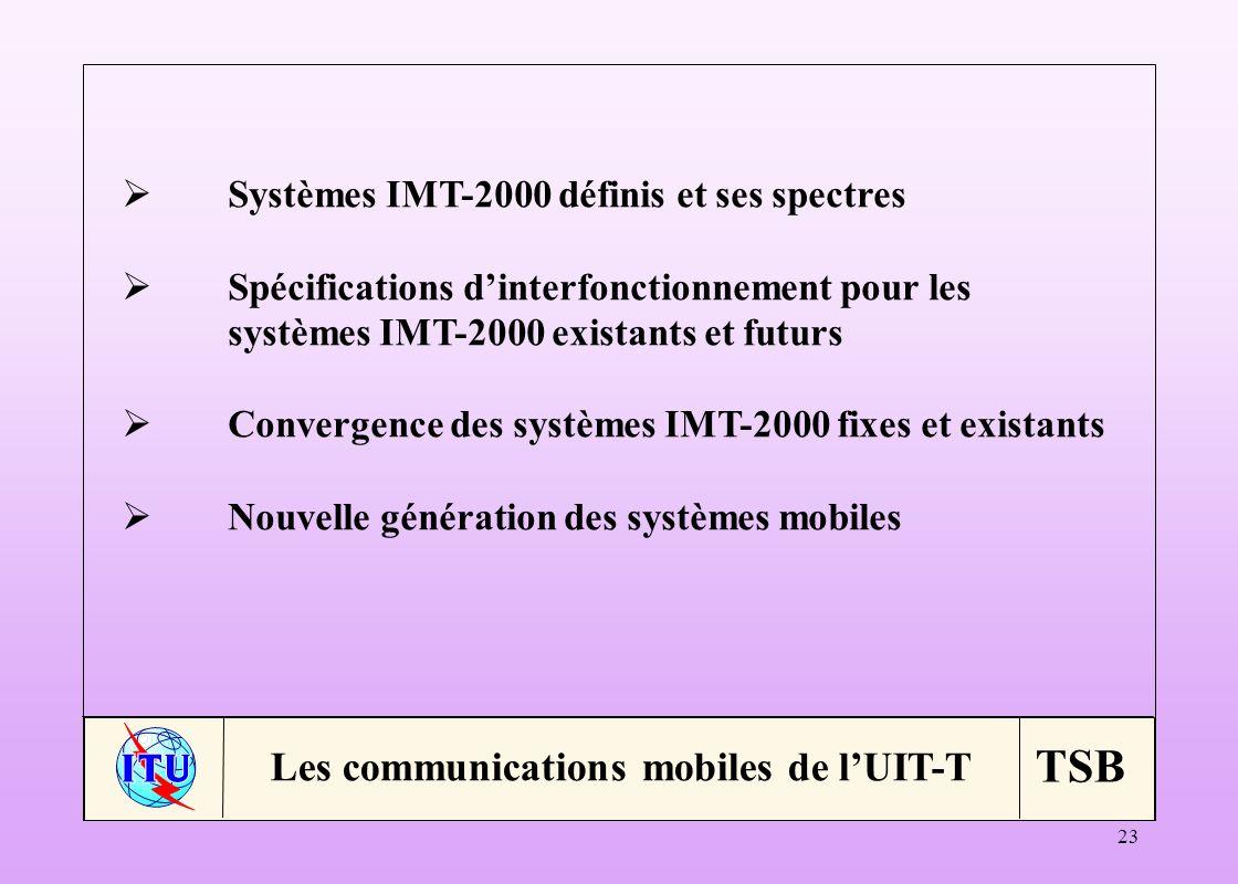 TSB 23 Systèmes IMT-2000 définis et ses spectres Spécifications dinterfonctionnement pour les systèmes IMT-2000 existants et futurs Convergence des systèmes IMT-2000 fixes et existants Nouvelle génération des systèmes mobiles Les communications mobiles de lUIT-T