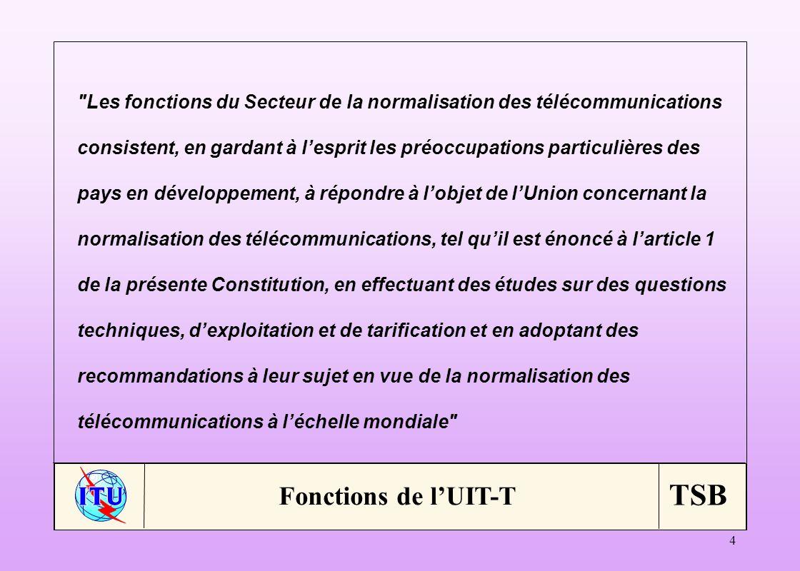 TSB 25 Administrations (65/832) Membres: 189 ER (63/461) Membres: 163 OSI (121/664) Membres: 173 Associés (31/53) Membres: 82 Etats-Unis 144FT 43Nortel 29+12+12eAccess 5 Chine 95Telekomunikacja Polska 38NTT 47 + 3OFS Fitel 5 Royaume-Uni 55China Telecom.