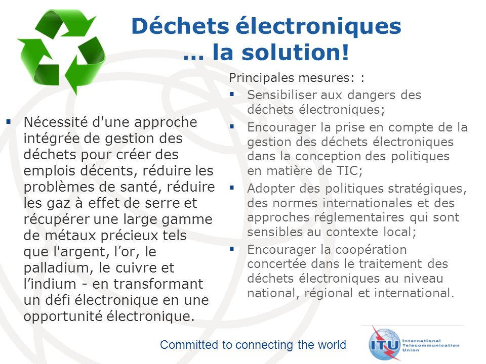 Committed to connecting the world Déchets électroniques … la solution.