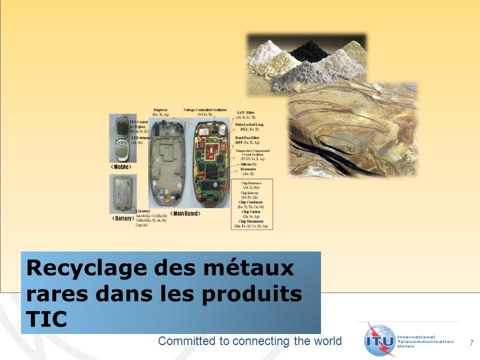 Committed to connecting the world Recyclage des métaux rares dans les produits TIC 7