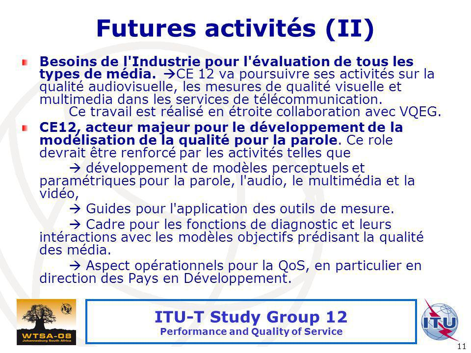International Telecommunication Union 11 ITU-T Study Group 12 Performance and Quality of Service Futures activités (II) Besoins de l'Industrie pour l'