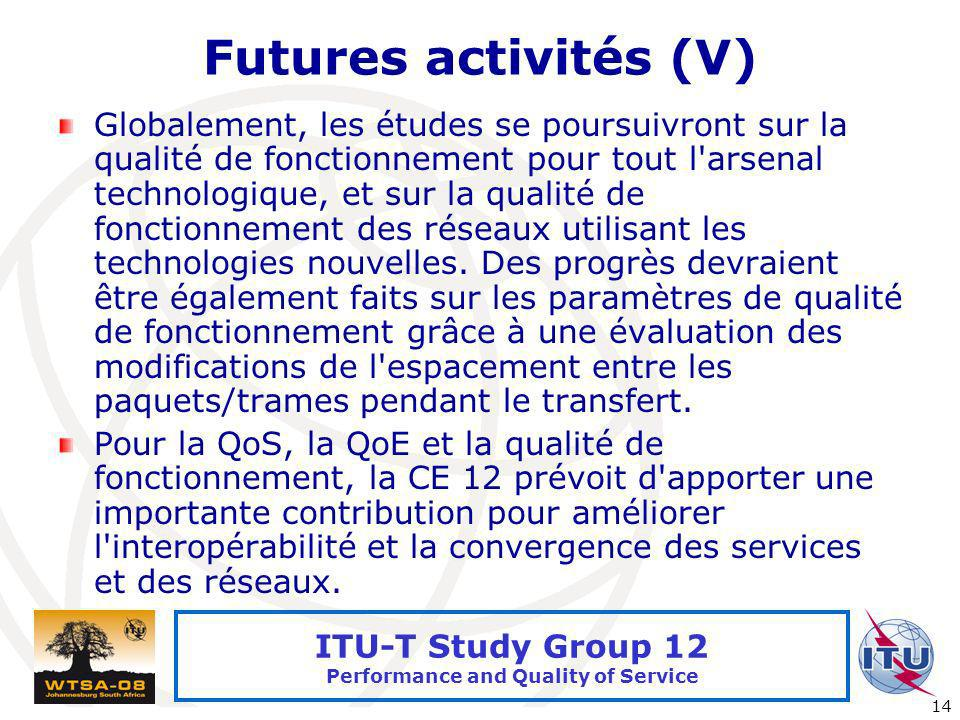 International Telecommunication Union 14 ITU-T Study Group 12 Performance and Quality of Service Futures activités (V) Globalement, les études se pour