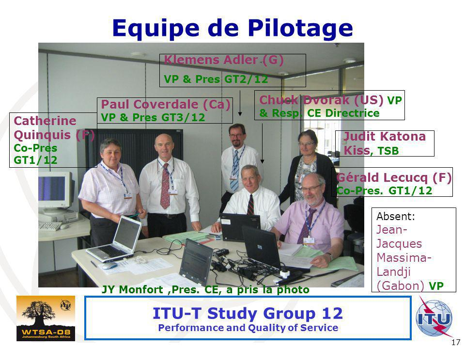 International Telecommunication Union 17 ITU-T Study Group 12 Performance and Quality of Service Equipe de Pilotage Judit Katona Kiss, TSB Klemens Adl