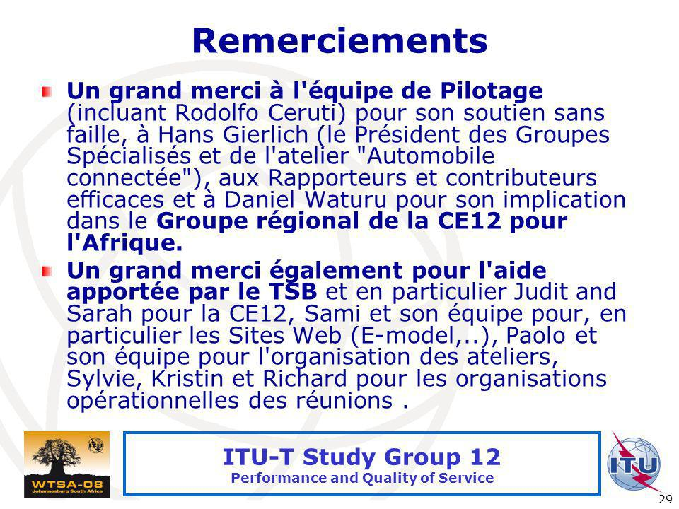 International Telecommunication Union 29 ITU-T Study Group 12 Performance and Quality of Service Remerciements Un grand merci à l'équipe de Pilotage (