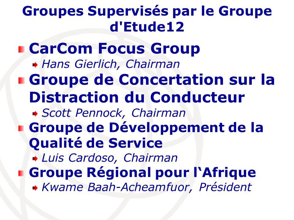 Groupes Supervisés par le Groupe d'Etude12 CarCom Focus Group Hans Gierlich, Chairman Groupe de Concertation sur la Distraction du Conducteur Scott Pe