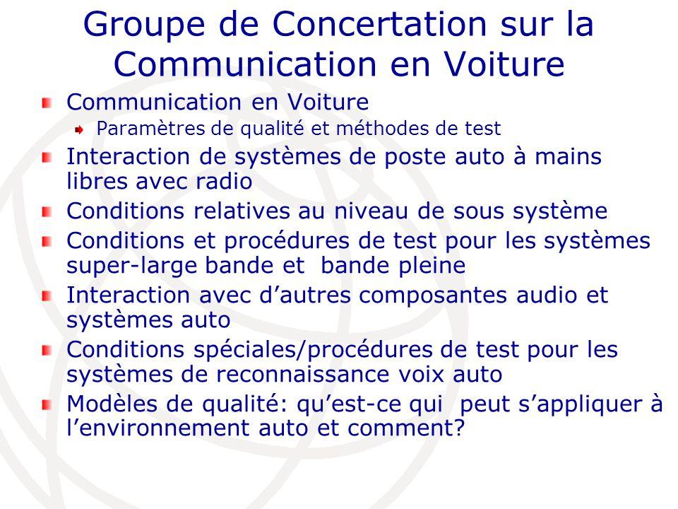 Groupe de Concertation sur la Communication en Voiture Communication en Voiture Paramètres de qualité et méthodes de test Interaction de systèmes de p