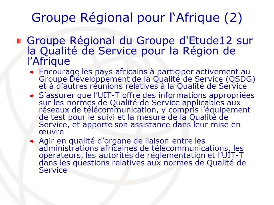 Groupe Régional pour lAfrique (2) Groupe Régional du Groupe d Etude12 sur la Qualité de Service pour la Région de lAfrique Encourage les pays africains à participer activement au Groupe Développement de la Qualité de Service (QSDG) et à dautres réunions relatives à la Qualité de Service Sassurer que lUIT-T offre des informations appropriées sur les normes de Qualité de Service applicables aux réseaux de télécommunication, y compris léquipement de test pour le suivi et la mesure de la Qualité de Service, et apporte son assistance dans leur mise en œuvre Agir en qualité dorgane de liaison entre les administrations africaines de télécommunications, les opérateurs, les autorités de réglementation et lUIT-T dans les questions relatives aux normes de Qualité de Service