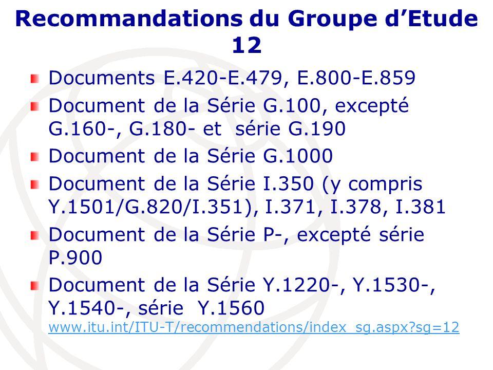 Recommandations du Groupe dEtude 12 Documents E.420-E.479, E.800-E.859 Document de la Série G.100, excepté G.160-, G.180- et série G.190 Document de la Série G.1000 Document de la Série I.350 (y compris Y.1501/G.820/I.351), I.371, I.378, I.381 Document de la Série P-, excepté série P.900 Document de la Série Y.1220-, Y.1530-, Y.1540-, série Y.1560 www.itu.int/ITU-T/recommendations/index_sg.aspx?sg=12 www.itu.int/ITU-T/recommendations/index_sg.aspx?sg=12