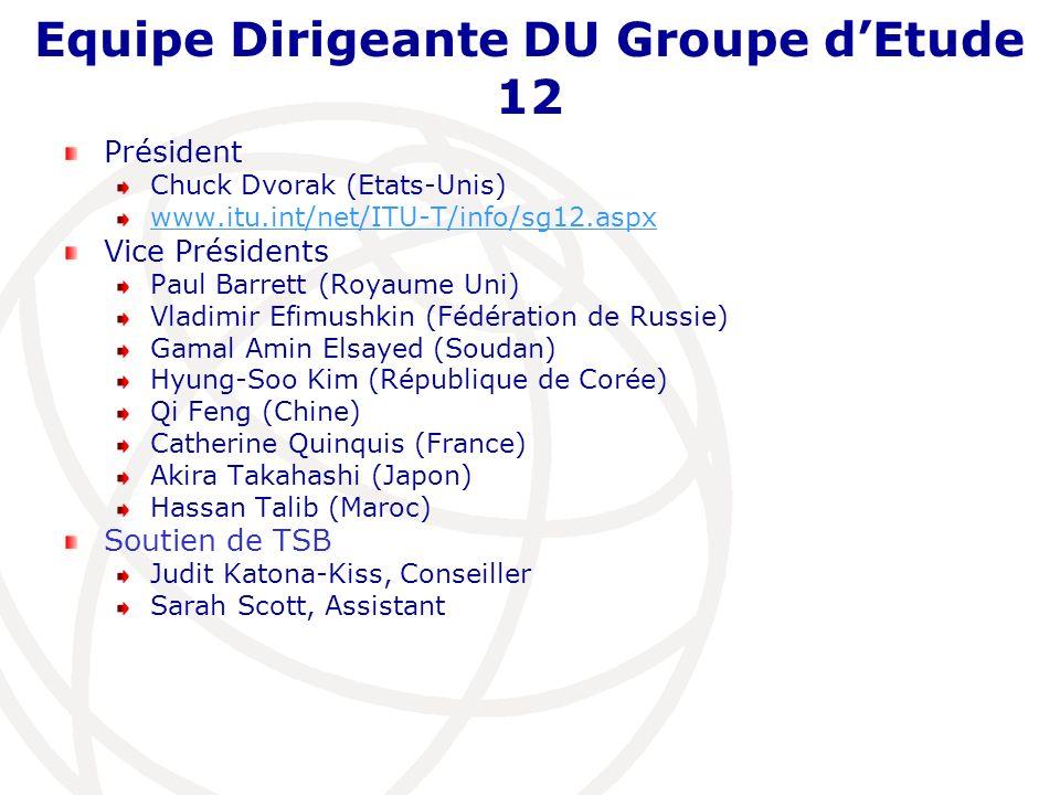 Equipe Dirigeante DU Groupe dEtude 12 Président Chuck Dvorak (Etats-Unis) www.itu.int/net/ITU-T/info/sg12.aspx Vice Présidents Paul Barrett (Royaume U