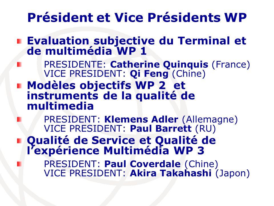 Président et Vice Présidents WP Evaluation subjective du Terminal et de multimédia WP 1 PRESIDENTE: Catherine Quinquis (France) VICE PRESIDENT: Qi Fen