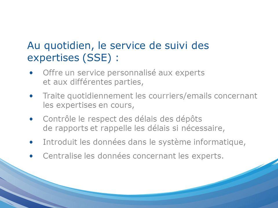 Au quotidien, le service de suivi des expertises (SSE) : Offre un service personnalisé aux experts et aux différentes parties, Traite quotidiennement