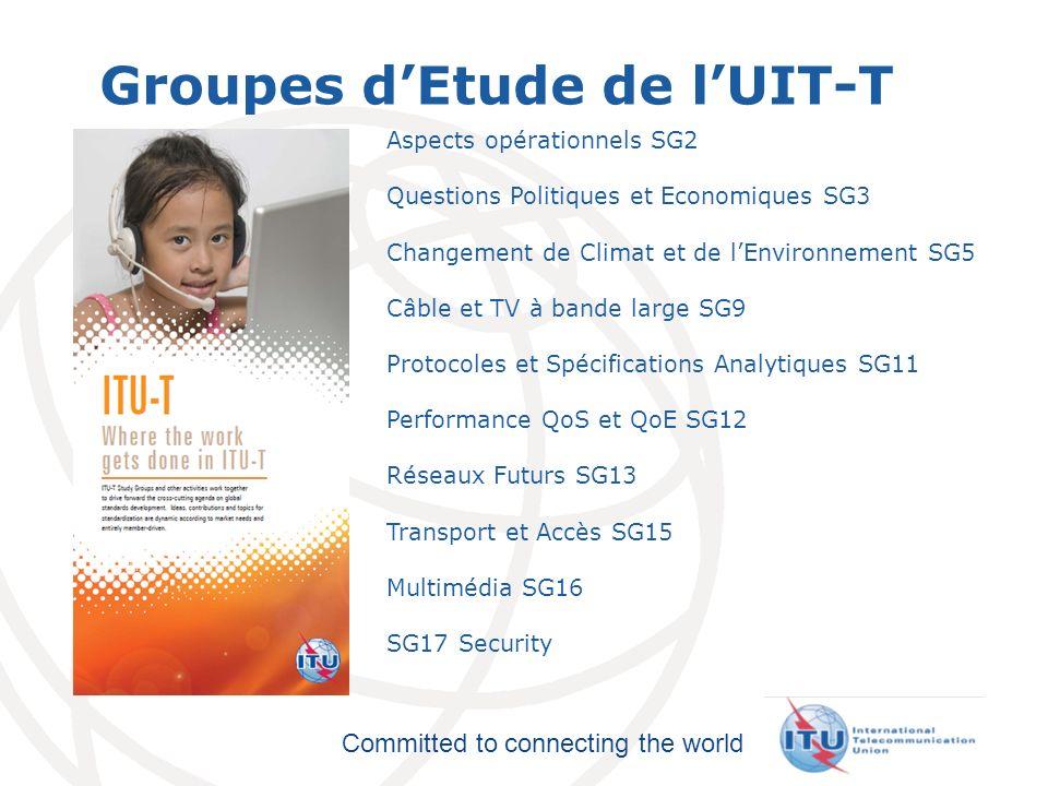 International Telecommunication Union Committed to connecting the world Groupes dEtude de lUIT-T Aspects opérationnels SG2 Questions Politiques et Eco