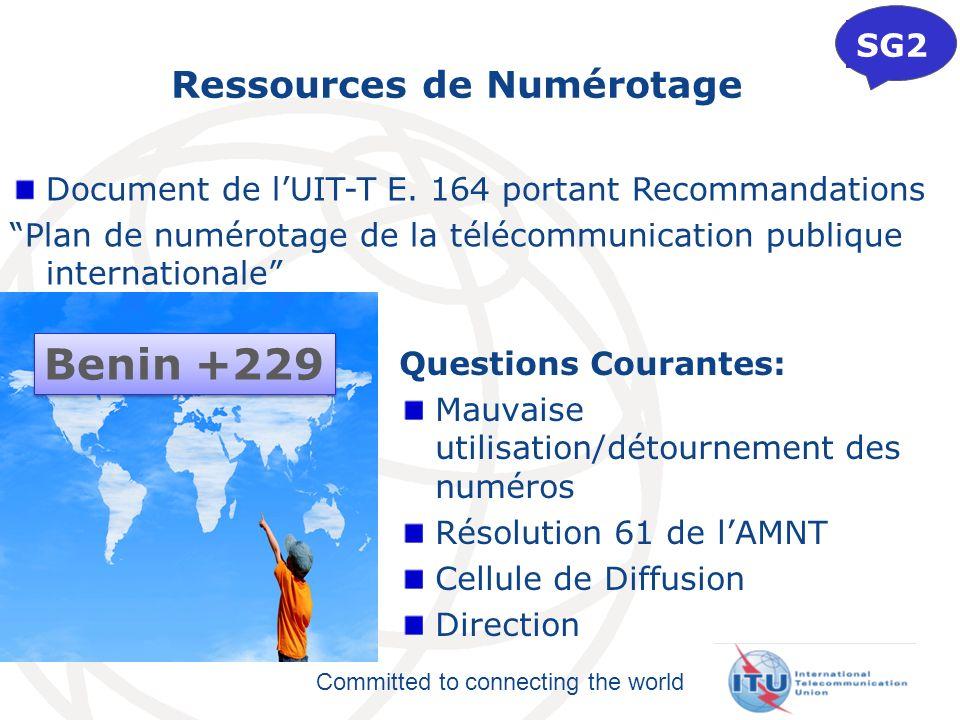 Committed to connecting the world Ressources de Numérotage Questions Courantes: Mauvaise utilisation/détournement des numéros Résolution 61 de lAMNT C