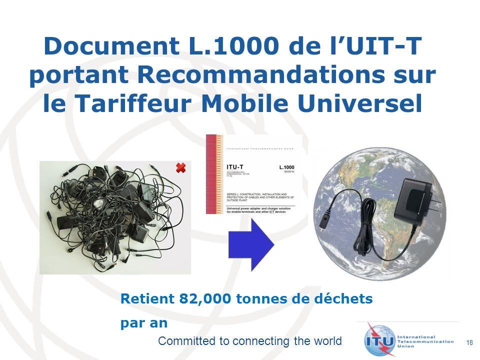 Committed to connecting the world Document L.1000 de lUIT-T portant Recommandations sur le Tariffeur Mobile Universel 18 Retient 82,000 tonnes de déch