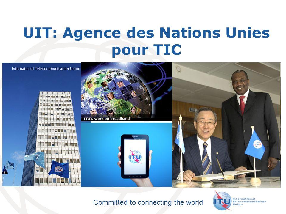 Committed to connecting the world Accès: ADSL: Document UIT-T G.992 PLT: Document UIT-T G.9960 (G.hn) FTTX: GPON Document UIT-T G.984 Fibres Accommodantes: Document UIT- T G.657 Transport Optique: SDH: Document UIT-T G.707 Ethernet Transporteur : ITU-T Y.1731 Synchronisation: Liaison Terrestre Mobile Accès Bande Large Internet de lUIT &Normes Transport SG15