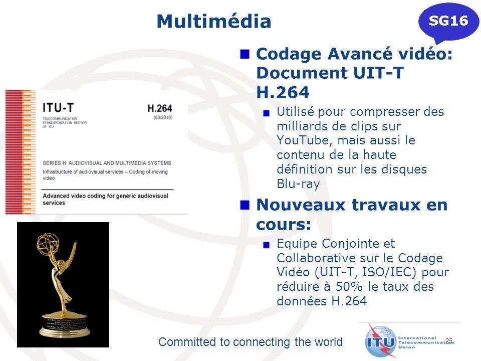 Committed to connecting the world Multimédia Codage Avancé vidéo: Document UIT-T H.264 Utilisé pour compresser des milliards de clips sur YouTube, mai